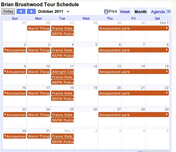 Shwoodrow Wilson's Tour Schedule